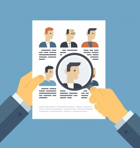 Analyzing applicants resume illustration concept